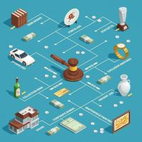 Auction Isometric Flowchart Concept vector