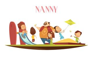 Man Babysitter With Kids Cartoon Illustration