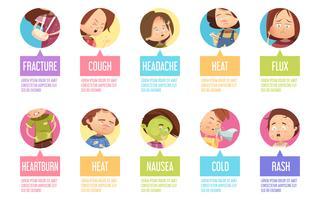 Conjunto de iconos de niño de dibujos animados enfermedad