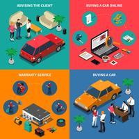 Concept isométrique de concession automobile