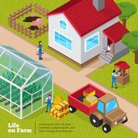 Cartel isométrico de las actividades diarias de la vida en la granja