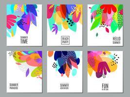 Cartel abstracto de la colección de las banderas del anuncio del verano vector