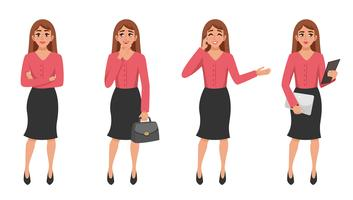 Cartoon Woman Gesture Set