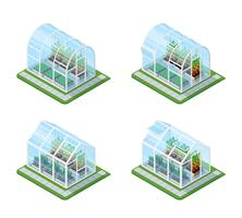 Glass Greenhouse Isometric Set