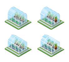 Glasgewächshaus Isometric Set