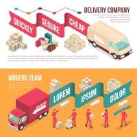 Isometric Delivery Moving Banner Set