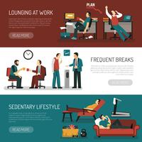 Lazy People Banners Set vector