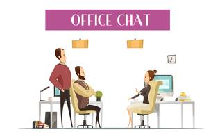 Office Chat Cartoon Style Composition