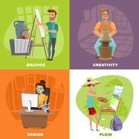 Diseñador gráfico artista 4 iconos cuadrados
