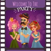 Marco de la película fotográfica con la invitación del partido