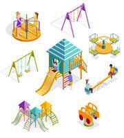 Isometrische schwingende Kinder-Icon-Set