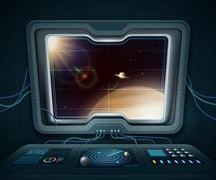 Ilustración de ventana de nave espacial