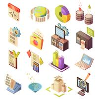 Data Analysis Isometric Elements Set