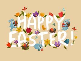 Saludo de Pascua brillante blanco floral letras