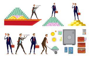 Conjunto de ícones de riqueza financeira