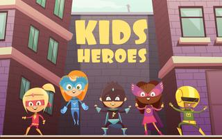 Kids Superheroes Cartoon Illustration