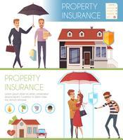 Banners horizontais de seguros de propriedade