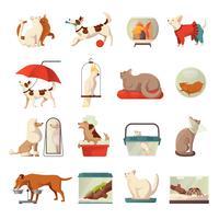 Conjunto de iconos de la tienda de mascotas
