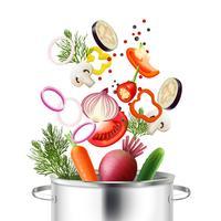 Concepto de verduras y olla