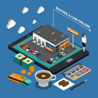 Buying Car Online Isometric Composition