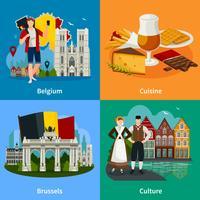 Belgiska landmärken Flat Style Travel Concept