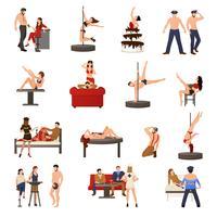 Set di icone di ballerina esotica