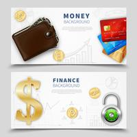 Realistic Money Horizontal Banners vector