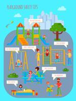 Póster de consejos de seguridad para parques infantiles