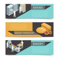 Conjunto de banners isométricos de fábrica de panadería