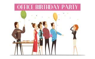 Geburtstagsfeier in der Büro-Illustration