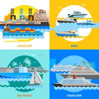 Water Transport 2x2 Flat Design Concept Set