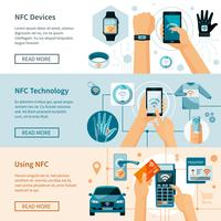 NFC Technology Horizontal Banners Set vector