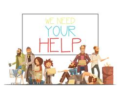 Homeless People Cartoon Style Illustration