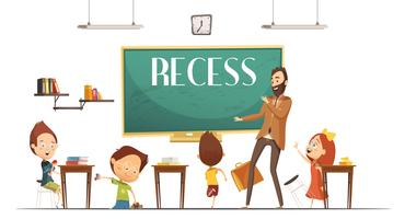 Primary School Recess Break Cartoon Illustration