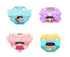 Raccoon Message 4 Cartoon Icons Composizione