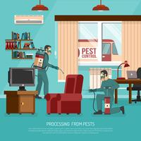 Interior Pest Control Treatment Flat Advertisement Poster