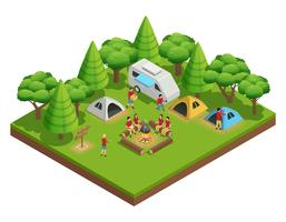 Hiking Isometric Composition