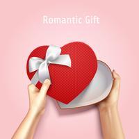 Fundo de caixa de presente romântico