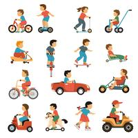 Kids Transport Icons Set