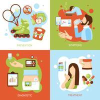 Diabetes síntomas concepto 4 iconos planos
