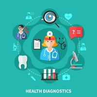 Health Diagnostics Flat Round Design