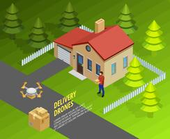 Drones Delivery Isometric Template