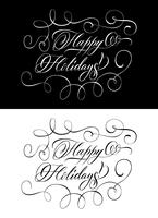 Two Monochrome Lettering Wishing Happy Holidays