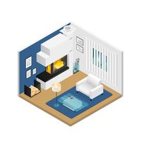 Living Room Isometric Interior With Fireplace vector