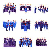 Choir Singing Ensemble Flat Icons Collection