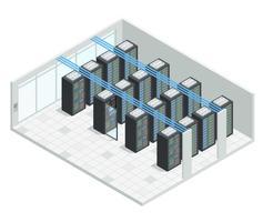 Interior isométrico de la sala de servidores
