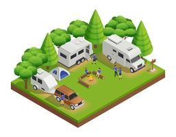Recreational Vehicles Isometric Composition