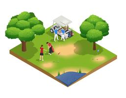 Green Golf Course Isometric Top View Composition