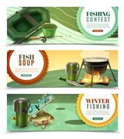 Jeu de bannières horizontales de pêche sportive