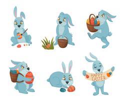 Coleção de desenhos animados de coelhinhos da Páscoa